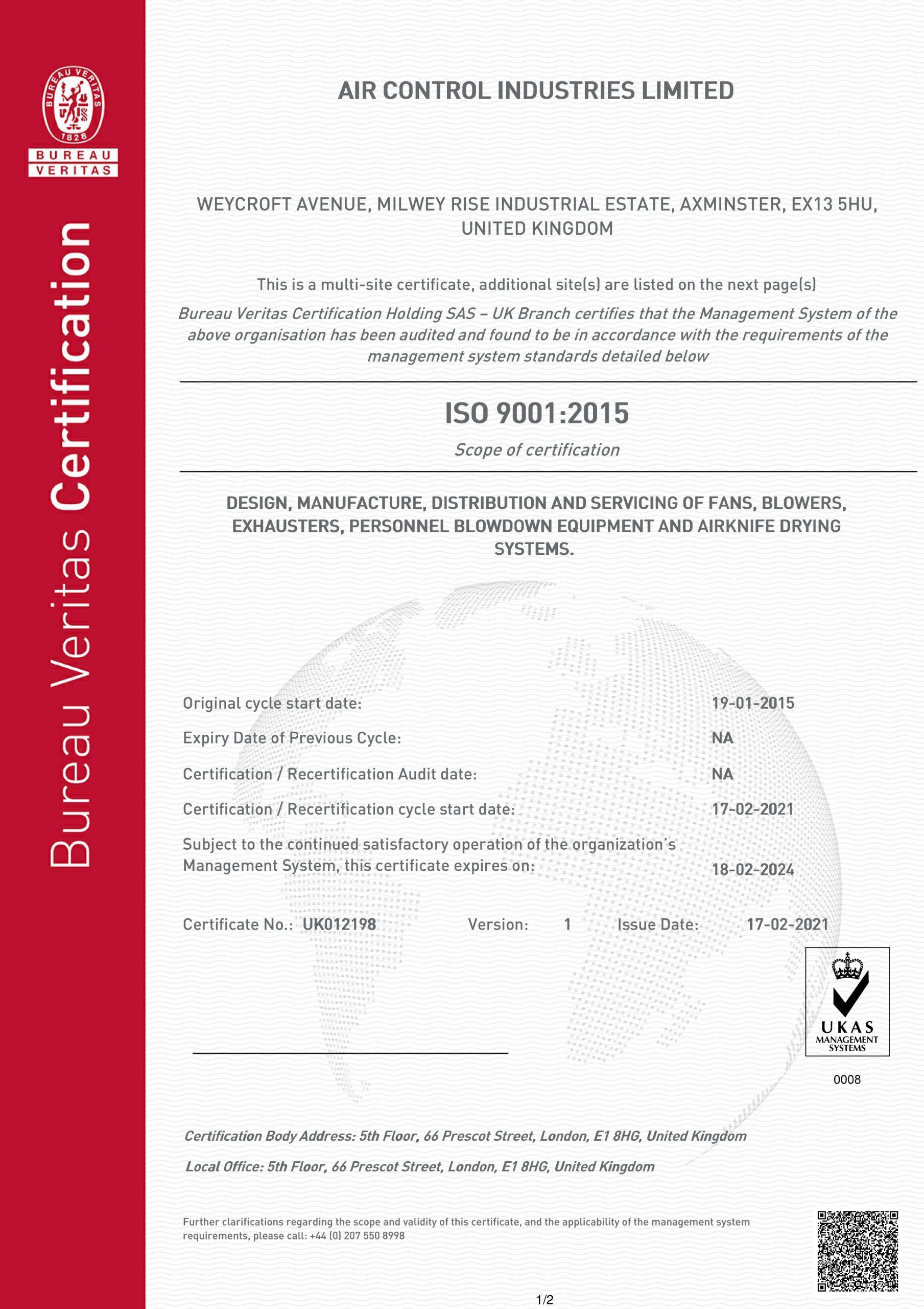 ACI ISO 9001 Standard Certificate